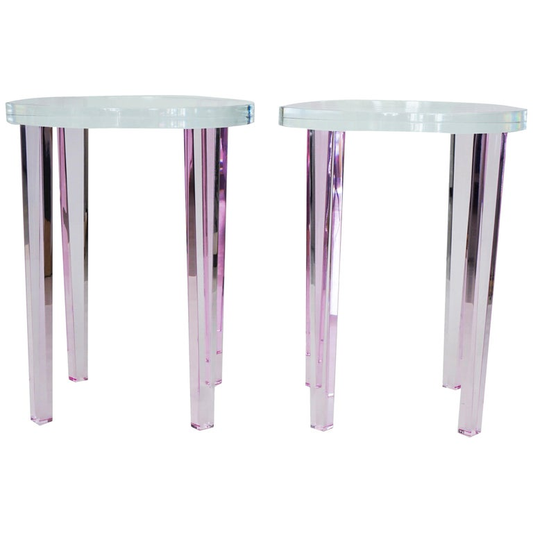 Round Side Tables in Pink Lucite For Sale