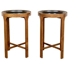 Round Side Tray Table Pair by Gregorios Pineo