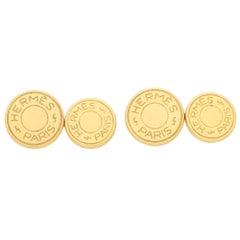 Round Signature Hermes Designer Chain Cufflinks in Solid 18 Karat Yellow Gold