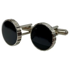 Vintage Round Silver Tone Cufflinks with Black Enamel-American, c. 1950's-60's