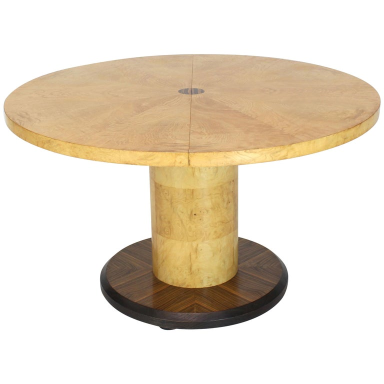 Round Single Cylinder Pedestal Base Burl Game Low Dining Table 1 Extension For Sale