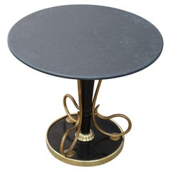 Round Slate Coffee Table in Brass Mahogany Italian Design 1950s Midcentury