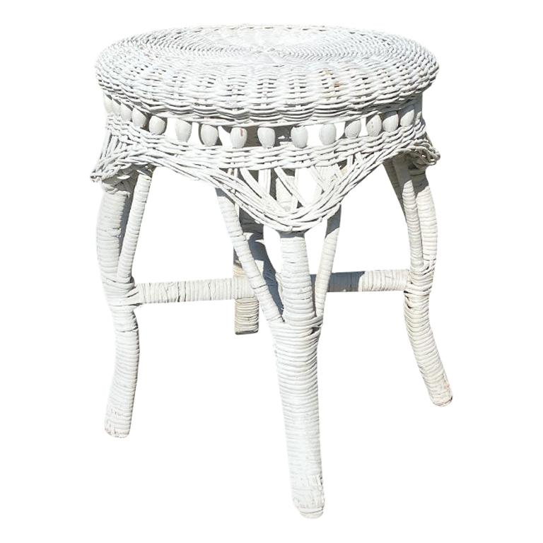 Round Small White Wicker Patio Table or Plant Stand after Heywood-Wakefield