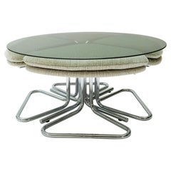 Round Smoked Glass and Chrome Coffee Table with Four Nesting Stools, 1970s