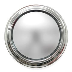Round Smoked Mirror, Chromed Vintage, Italy, 1960s, Midcentury, Wall Mirror