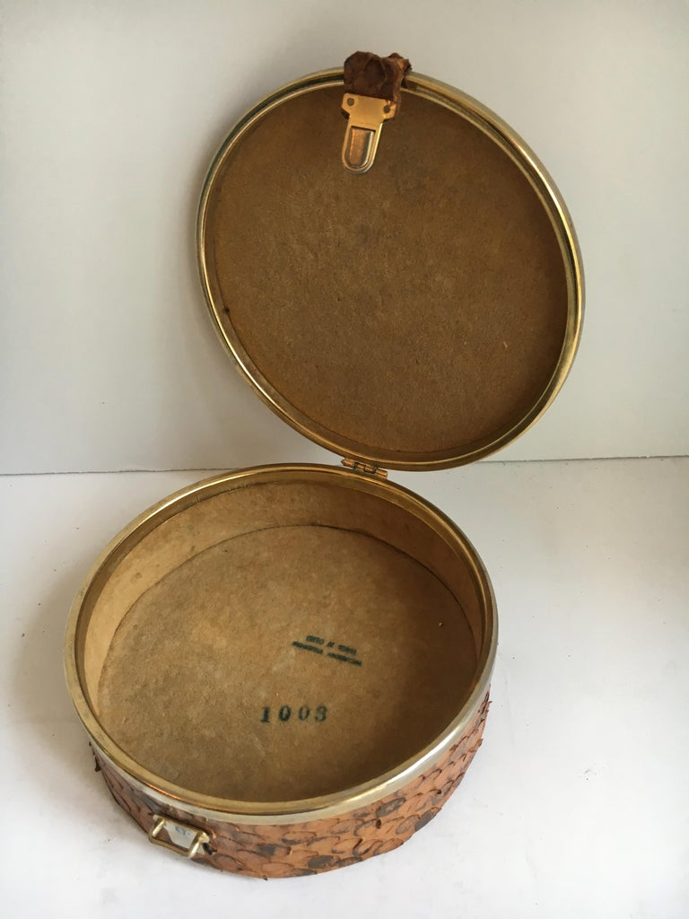 Mid-Century Modern Round Snakeskin Box with Brass Detail and Closure For Sale