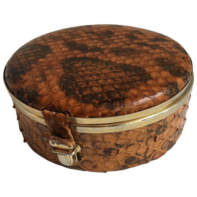 Round Snakeskin Box with Brass Detail and Closure For Sale