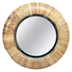 Round Snakeskin Wall Mirror by R and Y Augousti