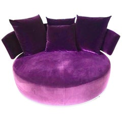 Round Soft Swivel Sofa, B&B Italia, Circular Amoenus Loveseat, Purple, Fuschia