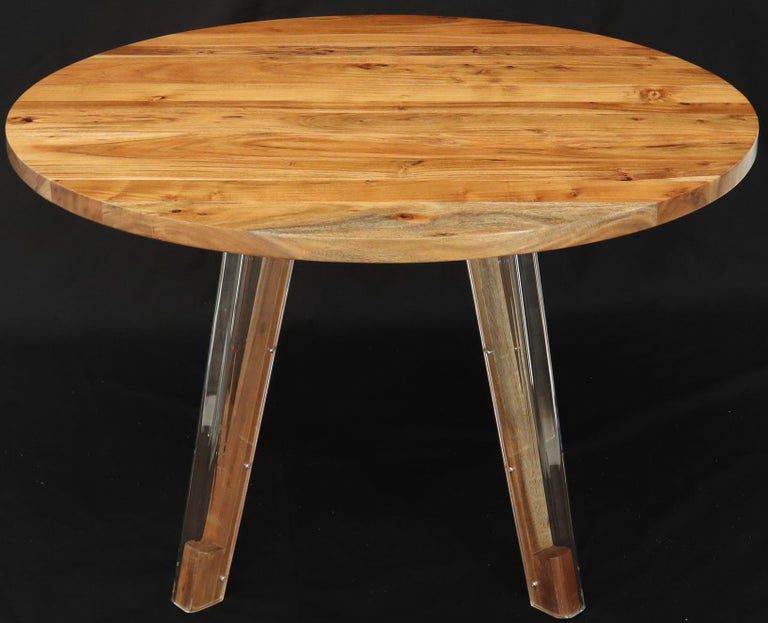 Round Solid Thick Oiled Teak Top Lucite Legs Dining Table ...