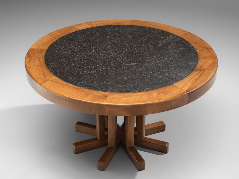 Mid-Century Modern Round Solid Elm Dining Table with Slate Inlay, 1970s For Sale
