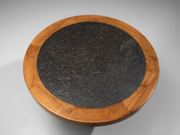 French Round Solid Elm Dining Table with Slate Inlay, 1970s For Sale