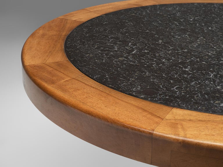 Round Solid Elm Dining Table with Slate Inlay, 1970s In Good Condition For Sale In Waalwijk, NL