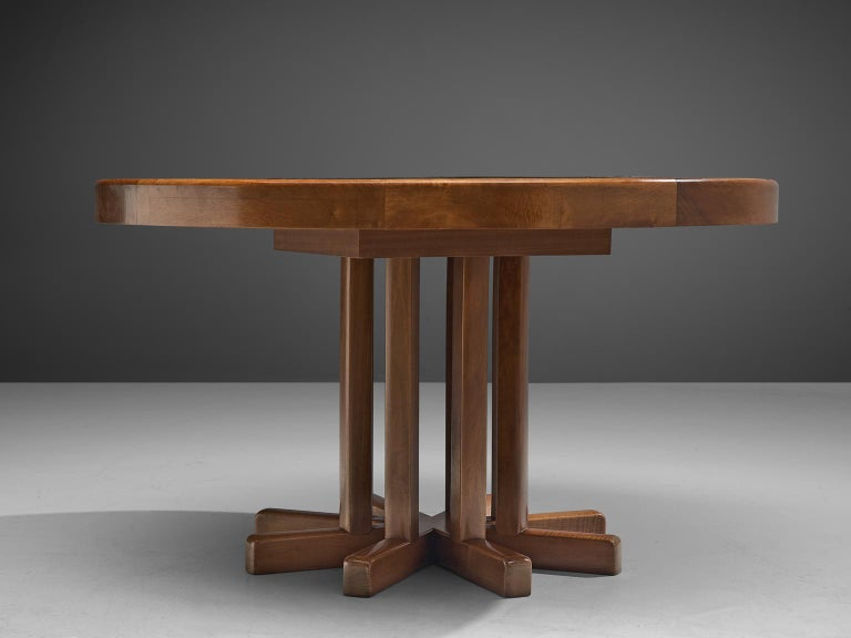 Late 20th Century Round Solid Elm Dining Table with Slate Inlay, 1970s For Sale