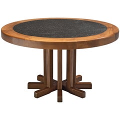Round Solid Elm Dining Table with Slate Inlay, 1970s