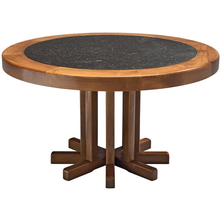 Round Solid Elm Dining Table with Slate Inlay, 1970s For Sale
