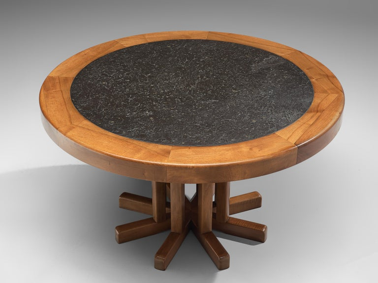 Mid-Century Modern Round Solid Elm Dining Table with Slate Inlay For Sale