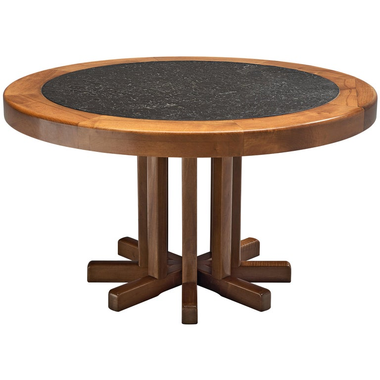 Round Solid Elm Dining Table with Slate Inlay For Sale