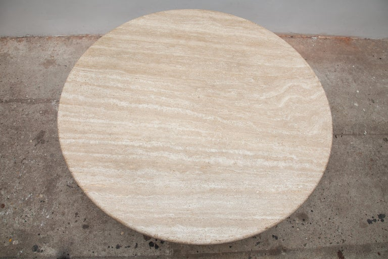 Mid-Century Modern Round Solid Travertine Pedestal Coffee Table by Peter Draenert, 1970s