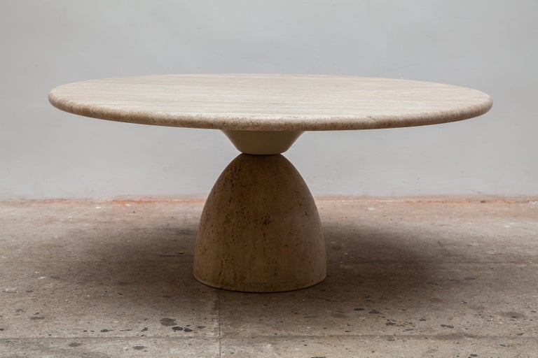 German Round Solid Travertine Pedestal Coffee Table by Peter Draenert, 1970s For Sale