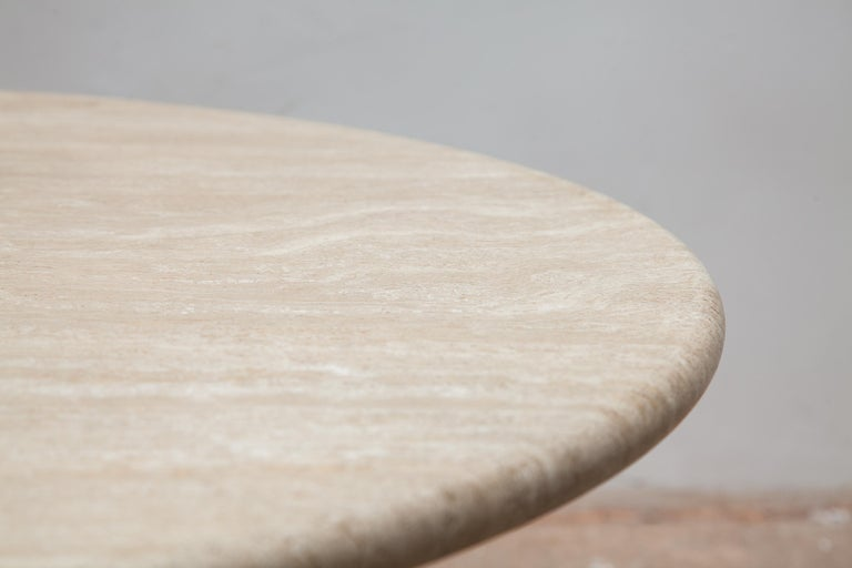 Hand-Crafted Round Solid Travertine Pedestal Coffee Table by Peter Draenert, 1970s