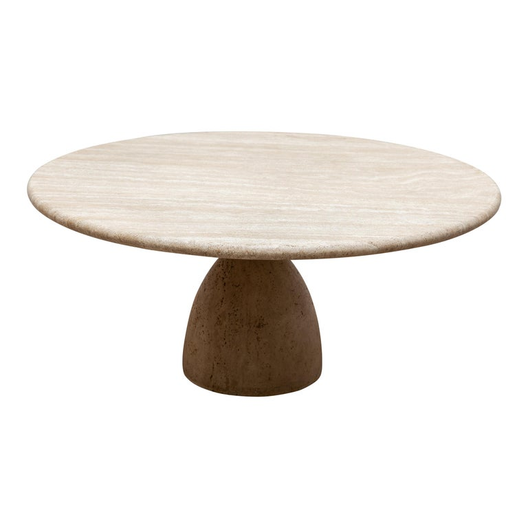 Round Solid Travertine Pedestal Coffee Table by Peter Draenert, 1970s For Sale