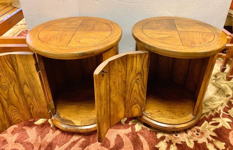Mid-Century Modern Round Solid Wood Drum Tables, Cabinets, Nightstands, Pair For Sale
