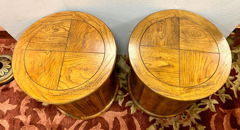 Round Solid Wood Drum Tables, Cabinets, Nightstands, Pair In Good Condition For Sale In West Hartford, CT