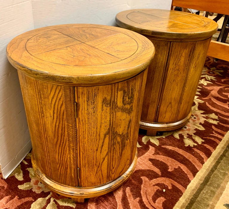 20th Century Round Solid Wood Drum Tables, Cabinets, Nightstands, Pair For Sale