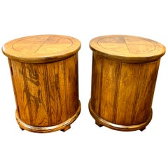 Round Solid Wood Drum Tables, Cabinets, Nightstands, Pair