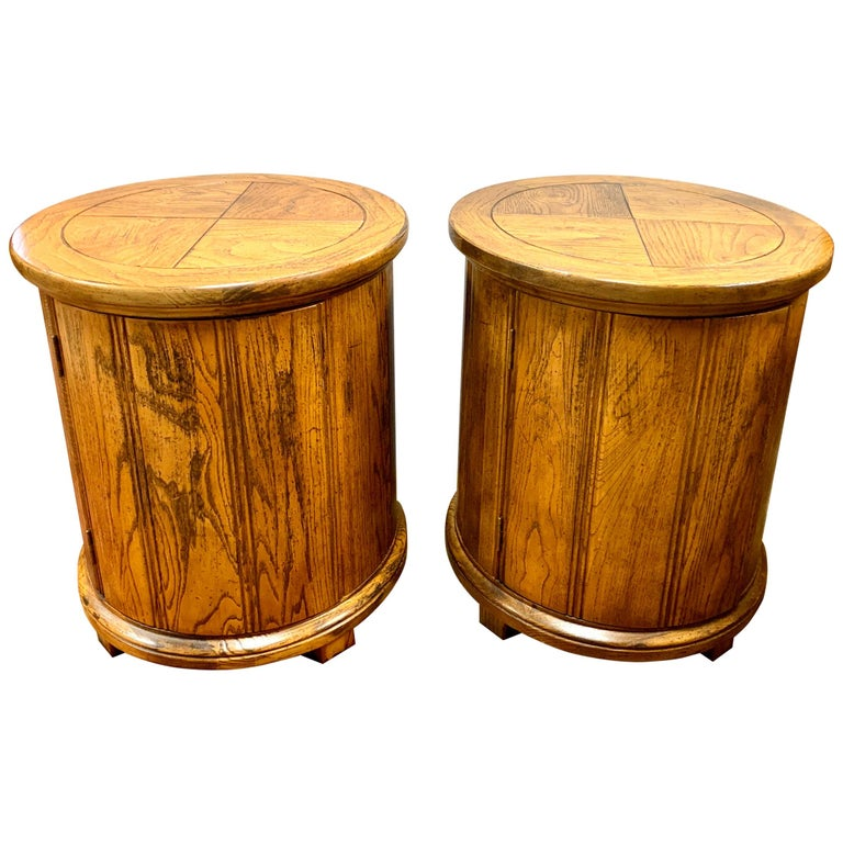 Round Solid Wood Drum Tables, Cabinets, Nightstands, Pair For Sale