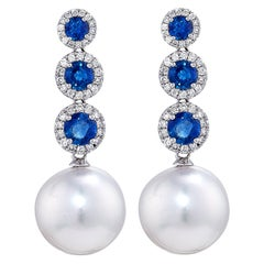 Round South Sea Pearl Earrings, 1.50 Carat of Sapphire, Diamonds in 18 Karat