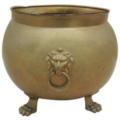 Round Spanish Cauldron Fireplace Log Brass Lion Paws and Lion Heads