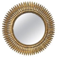 Round Spanish Gilt Metal Sunburst Mirror