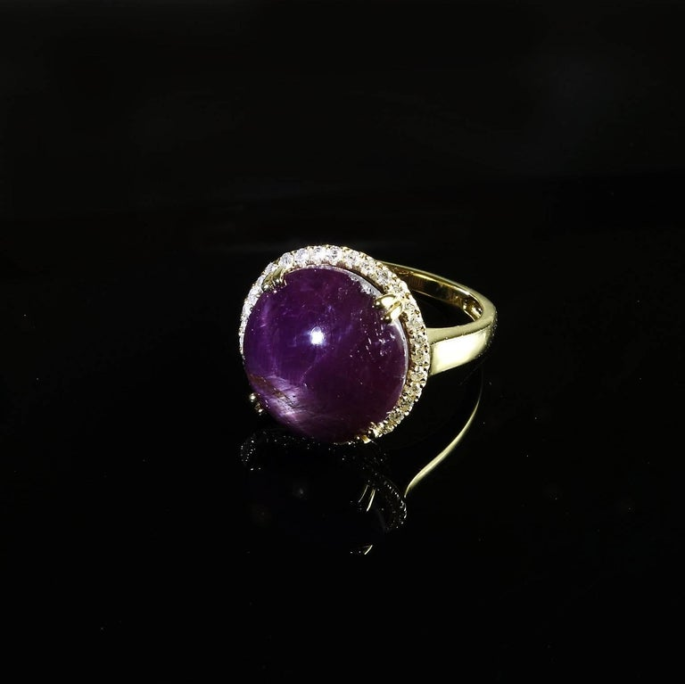 Statement Star Ruby and Diamond Cocktail Ring For Sale 1