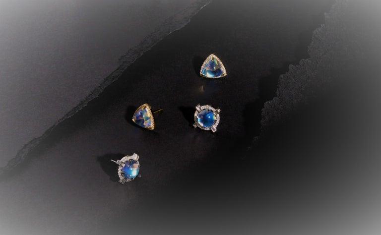 Women's Round Starburst Moonstone and Diamond Stud Earrings For Sale