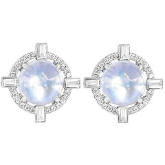 Round Starburst Moonstone and Diamond Stud Earrings