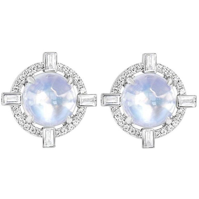 Round Starburst Moonstone and Diamond Stud Earrings For Sale
