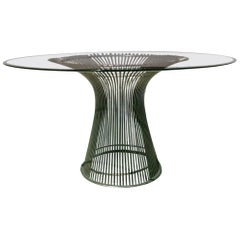 Round Steel Glass Top, Dining Table by Warren Platner for Knoll, 20th Century