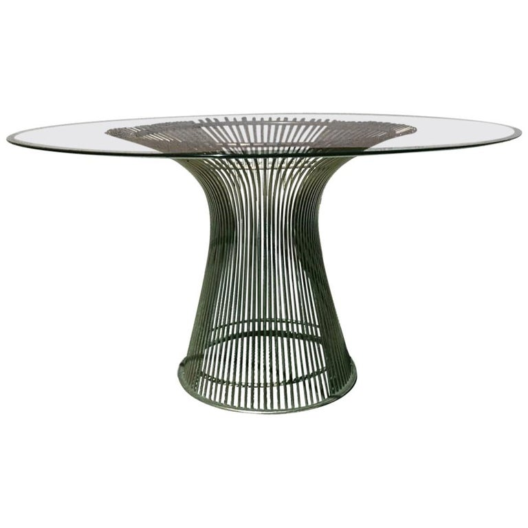 Round Steel Glass Top, Dining Table by Warren Platner for Knoll, 20th Century For Sale