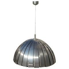 Round Steel Martinelli Luce Ceiling Lamp Sculptural Italian Design Silver 1970