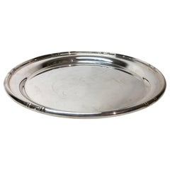 Round Sterling Silver Bamboo Pattern Tray