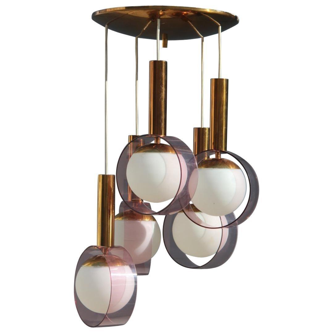 Round Stilux Milano Midcentury Chandelier Brass Plexiglass Gold Italian Design