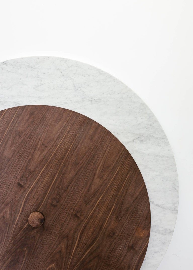 Round Stone Column Dining Table in Marble and White Oak Wood by Fort Standard For Sale 3