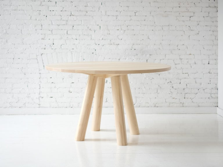 Round Stone Column Dining Table in Marble and White Oak Wood by Fort Standard For Sale 6