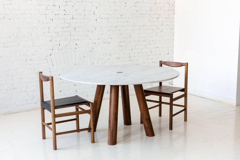 Round Stone Column Dining Table in Marble and White Oak Wood by Fort Standard In New Condition For Sale In Brooklyn, NY