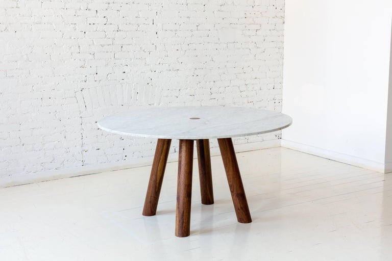 Contemporary Round Stone Column Dining Table in Marble and White Oak Wood by Fort Standard For Sale
