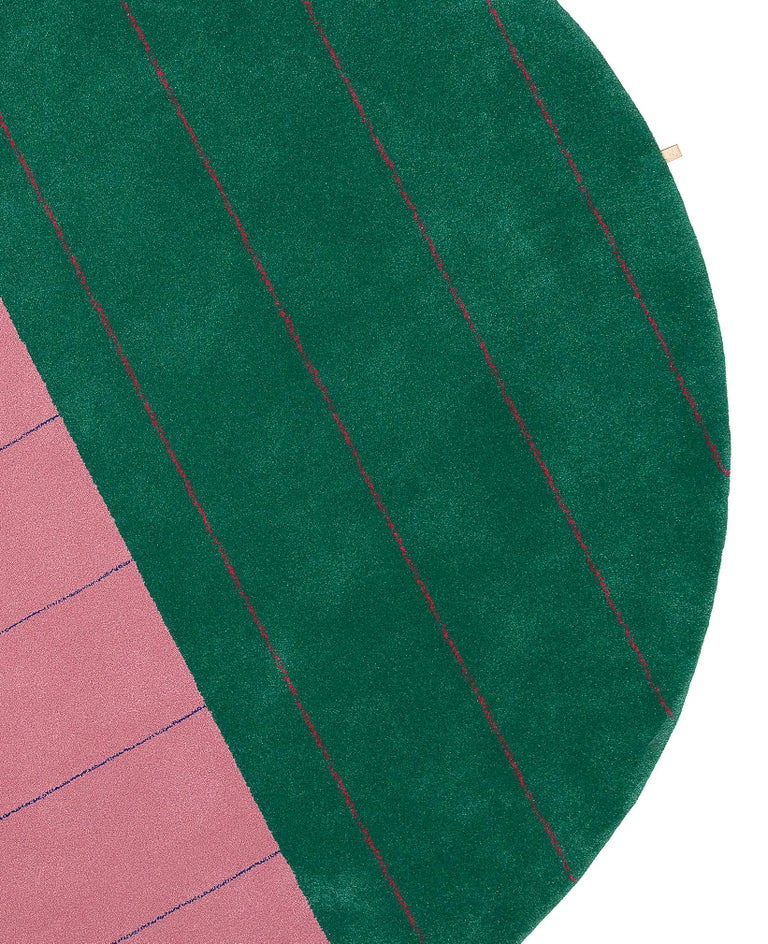 Swedish 9' Round, Striped, Pink and Green Tufted Rug by Sight Unseen for Kasthall For Sale