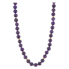 Round Sugilite Bead Strand with Yellow Gold Spacers