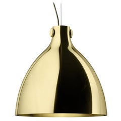 Round Suspension Lamp in Polished Brass By Elisa Giovannoni